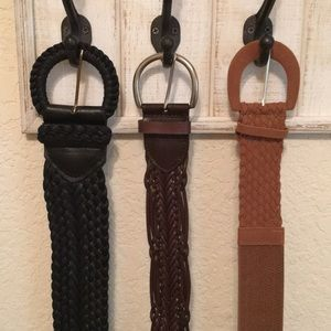 3 woven belt  bundle - black, brown, tan